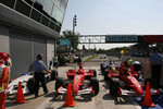 Nick Heidfeld, Michael Schumacher and Felipe Massa in Parc Ferm