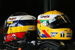 Helmets of Pedro de la Rosa and Lewis Hamilton