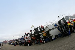 Team members watch practice atop the transporters