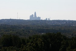 A view of the Charlotte skyline from the track