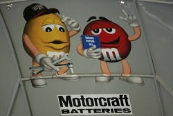 Inside hood of the M&M's Ford