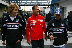 Sebastian Vettel, Michael Schumacher and Nick Heidfeld