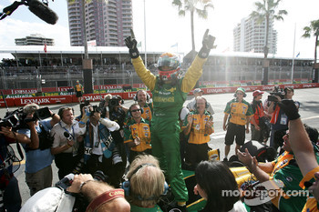 Pole winner Will Power celebrates