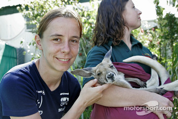 Ilka Minor with a baby kangaroo