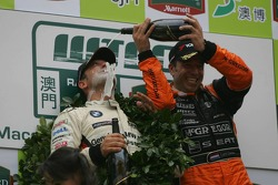 Podium: champagne for Jorg Muller and Tom Coronel