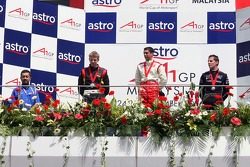 Podium: race winner Neel Jani with Nico Hulkenberg and Johnny Reid