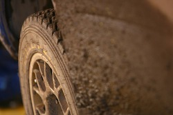 Mud on a tyre
