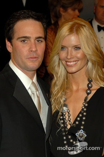 Jimmie Johnson and Chandra Johnson pose for a photo on the red carpet prior to attending the 2006 NASCAR NEXTEL Cup Series Awards Ceremony