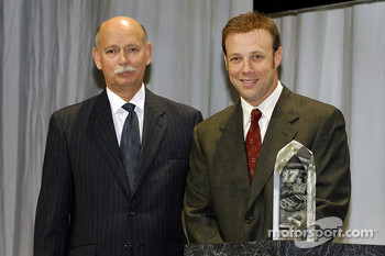 Matt Kenseth received the Goodyear Gatorback award at the Myers Brothers press conference