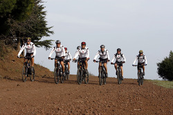 Team Repsol Mitsubishi Ralliart fitness in Britanny: Team Repsol Mitsubishi Ralliart drivers on mountain bikes