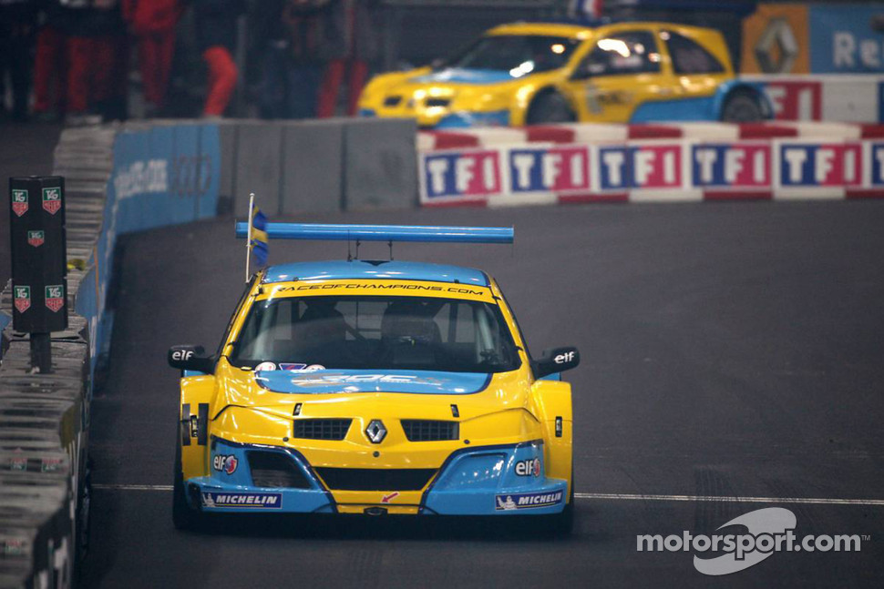 Superfinal 2: Race of Champions winner Mattias Ekström celebrates