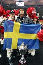 Race of Champions winner Mattias Ekstrm celebrates with Fredrik Johnsson