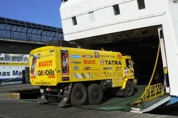 Loprais Tatra Team assistance truck gets on board the ferryboat