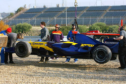 The Renault F1 R27 of Giancarlo Fisichella after a spin in the gravel