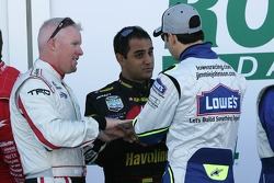 Paul Tracy, Juan Pablo Montoya and Jimmie Johnson