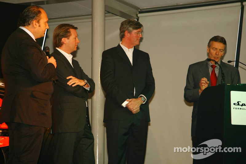 Colin Kolles, Spyker F1 Team, Team Principal, Michiel Mol, Director of Formula One Racing, Spyker and Spyker F1 Team and Victor Muller, Chie Executive Officer of Spyker Cars N.V. and Spyker F1 Team