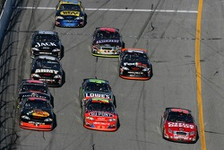 Martin Truex Jr., Jeff Gordon and Carl Edwards battle