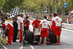 Scuderia Ferrari prepare for their demonstration