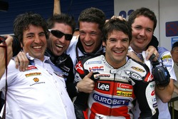 Carlos Checa celebrates front row qualifying