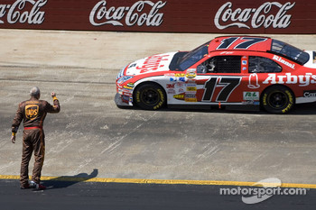Dale Jarrett motions at Matt Kenseth