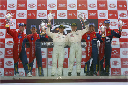 GT2 podium: class unofficial winner Emmanuel Collard and Matteo Malucelli, second place Toni Vilander and Dirk Muller, third place Gianmaria Bruni and Stéphane Ortelli