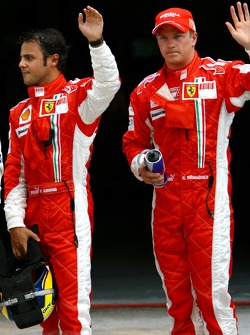 Pole winner Felipe Massa with Kimi Raikkonen
