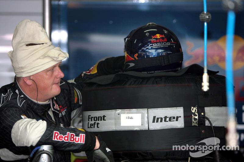 A Red Bull Racing pit crew member