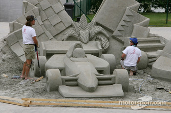 An F1 sand sculpture