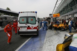 Emergency vehicles on pitlane