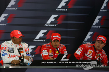 Press conference: pole winner Felipe Massa with second place Lewis Hamilton and third place Kimi Raikkonen