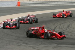 Felipe Massa, Scuderia Ferrari, F2007, Lewis Hamilton, McLaren Mercedes, MP4-22, Fernando Alonso, McLaren Mercedes, MP4-22 and Kimi Raikkonen, Scuderia Ferrari, F2007