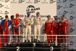 LMP1 podium: class and overall winners Pedro Lamy and Stéphane Sarrazin, second place Jan Charouz and Stefan Mücke, third place Jean-Denis Deletraz, Marcel Fassler and Iradj Alexander-David