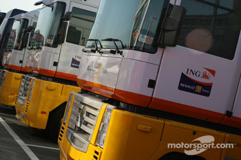 Renault F1 Team, trucks in the paddock