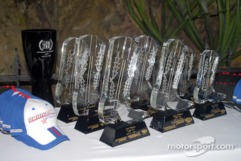 Crystal boot trophies await the P1 class podium finishers
