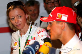 Michael Schumacher, Scuderia Ferrari, Advisor, Press conference, with Sabine Kehm, Michael Schumacher's personal press officer