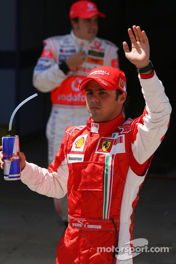 Pole winner Felipe Massa, Scuderia Ferrari, celebrates