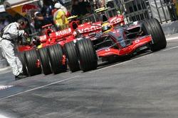 Lewis Hamilton, McLaren Mercedes, MP4-22 at the pit exit