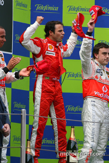 Podium: race winner Felipe Massa with Lewis Hamilton and Fernando Alonso