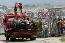 Scott Speed, Scuderia Toro Rosso, STR02 on the back of a truck