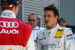 Gary Paffett, Persson Motorsport AMG Mercedes, talking with Mattias Ekström, Audi Sport Team Abt Sportsline