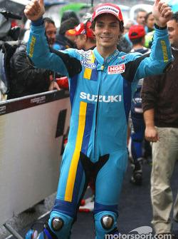 Race winner Chris Vermeulen celebrates