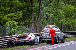 Aftermath of the #50 Aston Martin Test Centre Aston Martin GT12: Chris Harris, Shinichi Katsura, Kazunori Yamauchi, Andreas Gülden crash