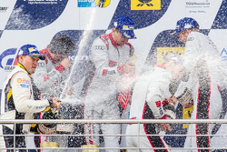 Podium: Christopher Mies, Edward Sandström, Nico Müller, Laurens Vanthoor celebrate with champagne