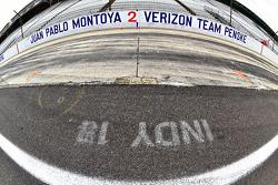 Juan Pablo Montoya's pit stall