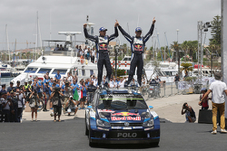Podium: winners Sébastien Ogier and Julien Ingrassia, Volkswagen Polo WRC, Volkswagen Motorsport