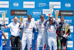Podium: winner Sébastien Loeb, Citroën C-Elysée WTCC, Citroën World Touring Car team, second place Yvan Muller, Citroën C-Elysée WTCC, Citroën World Touring Car team and third place Jose Maria Lopez, Citroën C-Elysée WTCC, Citroën World Touring Car team