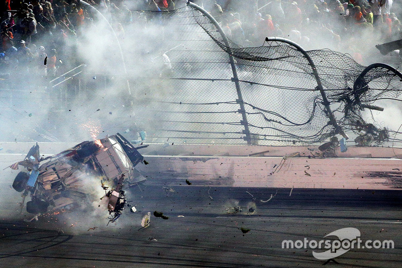 Austin Dillon, Richard Childress Racing Chevrolet in huge crash at the finish