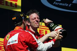 (L to R): Race winner Sebastian Vettel, Ferrari and James Allison, Ferrari Chassis Technical Director celebrate on the podium