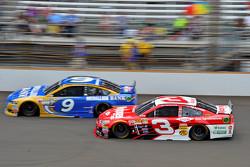 Sam Hornish Jr., Richard Petty Motorsports Ford and Austin Dillon, Richard Childress Racing Chevrolet