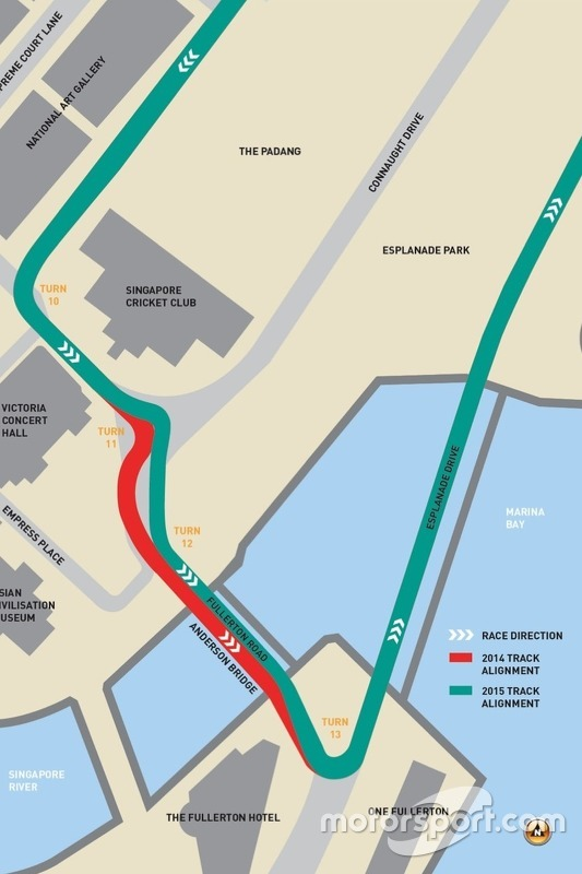 Singapore GP circuit modifications 2015